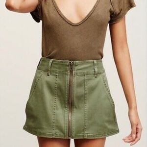 Free People Army Green Zip Up Skirt